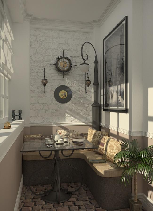 Остекление балконов и лоджий в Калуге, внутренняя отделка с угловым диваном