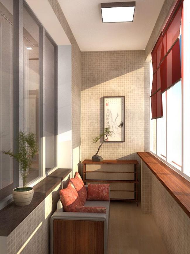 Остекление балконов и лоджий в Калуге, внутренняя отделка мозаичной плиткой