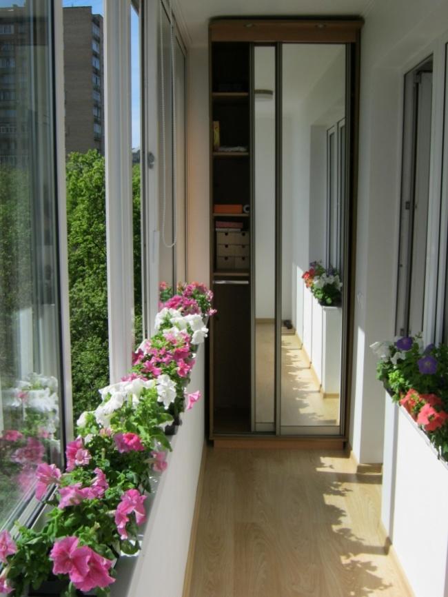 Остекление балконов и лоджий в Калуге, внутренняя отделка - шкаф и цветы
