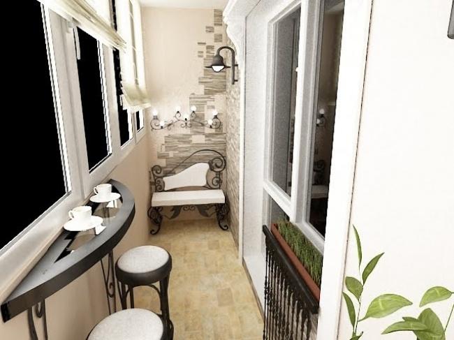 Остекление балконов и лоджий в Калуге, внутренняя отделка с кованой мебелью и камнем