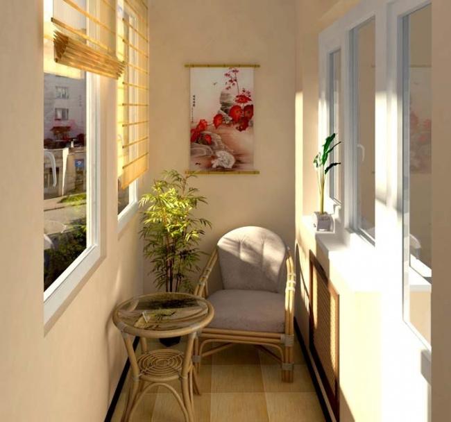 Остекление балконов и лоджий в Калуге, внутренняя отделка в бежевый цвет с плетеной мебелью