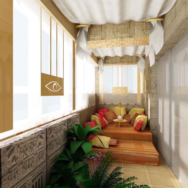 Остекление балконов и лоджий в Калуге, внутренняя отделка с египетским дизайном