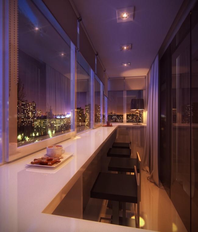 Остекление балконов и лоджий в Калуге, внутренняя отделка с большой столешницей под бар